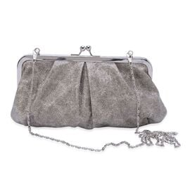 Grey Colour Glitter Clutch Bag with Removable Chain Strap (Size 24x13 Cm)