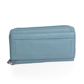 100% Genuine Leather Baby Blue Colour RFID Blocker Ladies Wallet (Size 19x11 Cm)