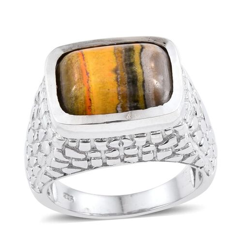 Bumble Bee Jasper (Cush) Solitaire Ring in Platinum Overlay Sterling Silver 5.750 Ct.