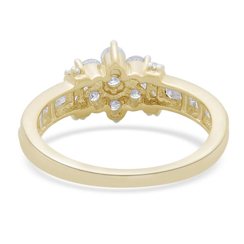9K Yellow Gold SGL Certified Diamond (Rnd) (I3 G-H) Floral Ring 1.000 Ct.