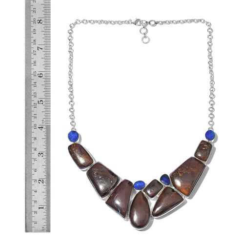 One Off A Kind- Boulder Opal Rock and Opal Double Necklace (Size 18 with 1 inch Extender) in Sterling Silver 216.000 Ct. Silver wt 33.80 Gms.