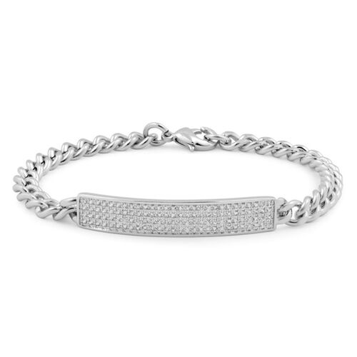 Close Out Deal AAA Simulated Diamond (Rnd) Bracelet (Size 7) in Silver Bond