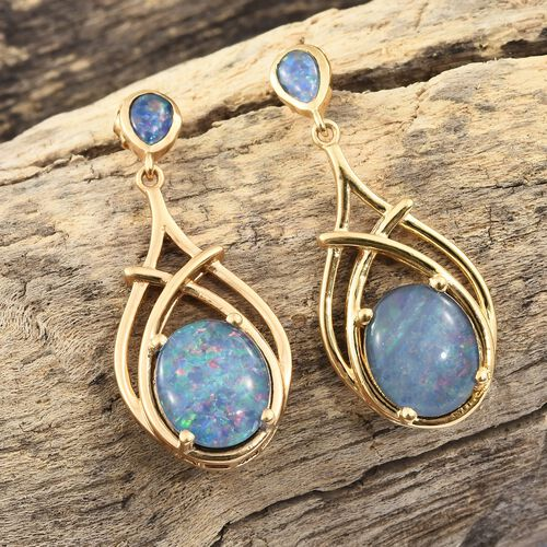 Australian Boulder Opal (Ovl) Earrings (with Push Back) in 14K Gold Overlay Sterling Silver 7.000 Ct. Silver wt 6.18 Gms.