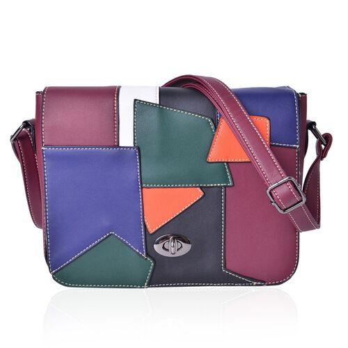 Abstract Art Inspired Burgundy, Blue and Multi Colour Crossbody Bag with Adjustable Shoulder Strap (Size 24X19X7 Cm)