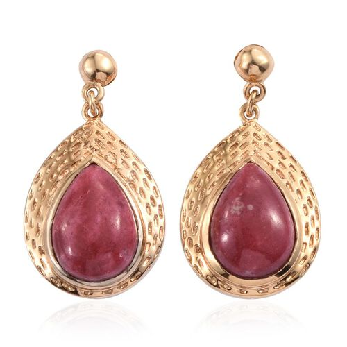 Norwegian Thulite (Pear) Earrings (with Push Back) in 14K Gold Overlay Sterling Silver 12.000 Ct.