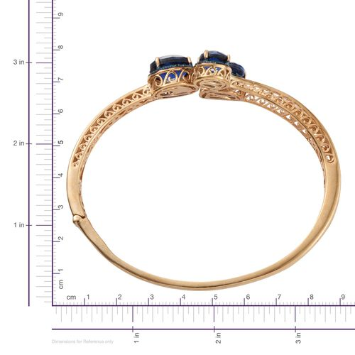 Checkerboard Cut Ceylon Colour Quartz (Ovl 5.50 Ct), Blue Diamond Bangle (Size 7.5) in 14K Gold Overlay Sterling Silver 11.270 Ct.