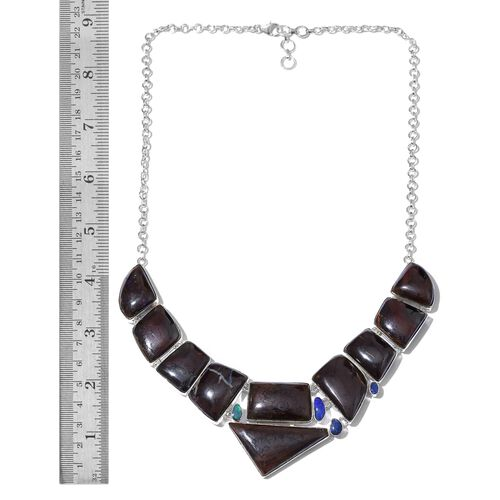 Boulder Opal Rock and Opal Double Necklace (Size 18 with 1 inch Extender) in Sterling Silver 280.900 Ct.