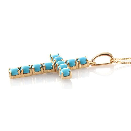 Arizona Sleeping Beauty Turquoise (Rnd) Cross Pendant with Chain in 14K Gold Overlay Sterling Silver 3.000 Ct.