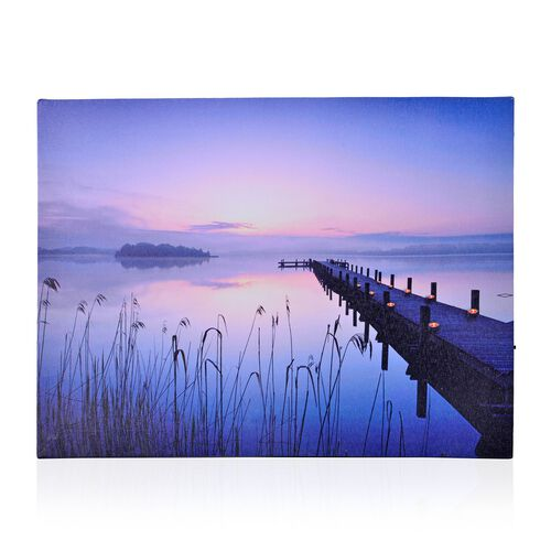 Wall Decor - LED Lights Lake and Bridge Wooden Frame Wall Hanging (Size 40X30 Cm)