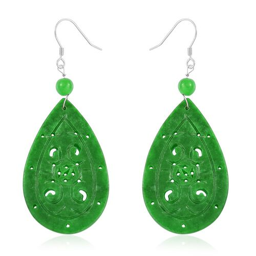 Hand Carved -Green Jade Wealth Symbol Hook Earrings in Rhodium Plated Sterling Silver 47.500 Ct.