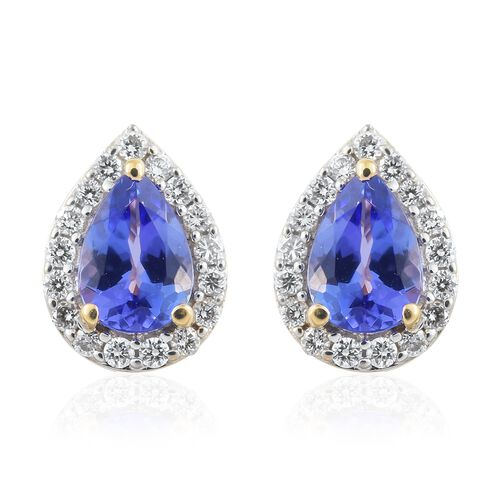 ILIANA 18K Yellow Gold AAA Tanzanite (Pear), Diamond (SI/G-H) Stud Earrings (with Screw Back) 2.050 Ct