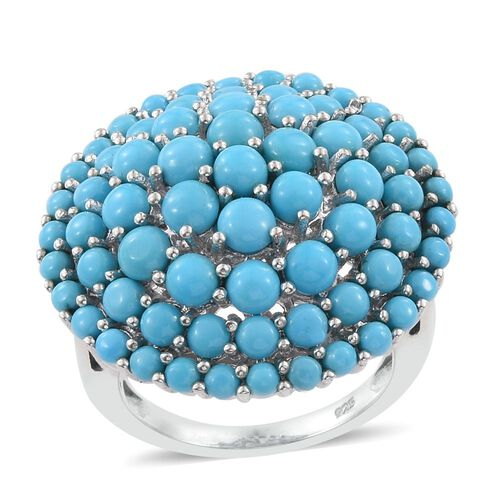 6.50 Carat Arizona Sleeping Beauty Turquoise Cluster Ring in Platinum Overlay Sterling Silver