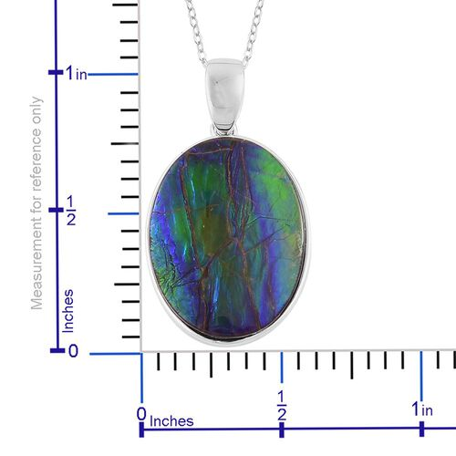 AAA Canadian Ammolite (Ovl) Solitaire Pendant With Chain in Rhodium and Platinum Overlay Sterling Silver 8.000 Ct.