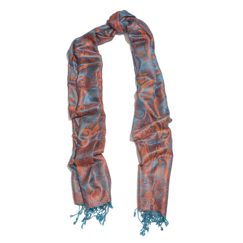 SILK MARK - 100% Superfine Silk Turquoise, Orange and Multi Colour Paisley Pattern Jacquard Jamawar Scarf with Tassels (Size 180X70 Cm) (Weight 125 to 140 Gms)