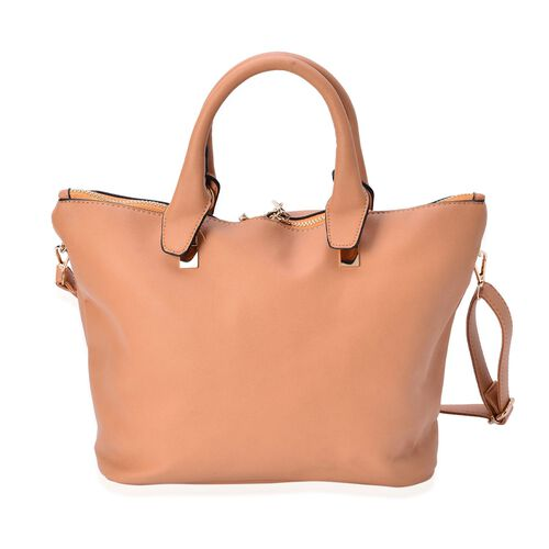 Set of 2 - Tan Colour Handbag With Adjustable and Removable Shoulder Strap (Size 25.5x13.5 Cm and 13.5x11x3.5 Cm)
