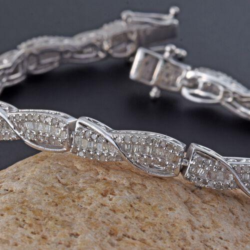 Diamond (Bgt) Bracelet (Size 7.5) in Platinum Overlay Sterling Silver 2.050 Ct.