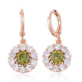 AAA Simulated Peridot and Simulated White Diamond Hoop Earrings in Rose Gold Tone