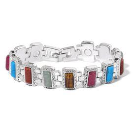 Howlite, Gold Sandstone, Cherry Quartz, Aventurine and Tiger Eye Bracelet (Size 7.5) in Silver Tone 12.000 Ct.