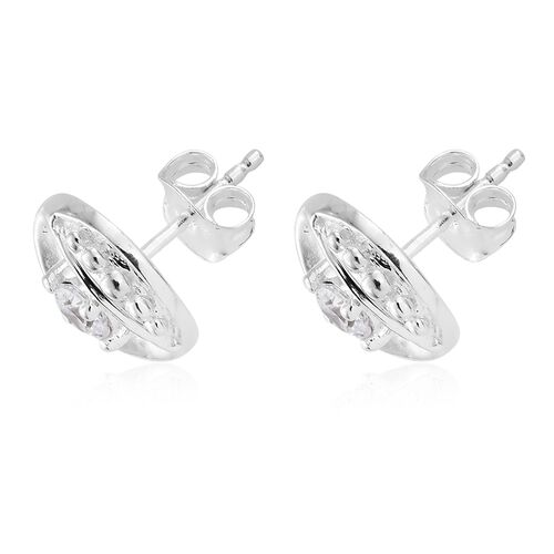 J Francis - Sterling Silver (Rnd) Stud Earrings (with Push Back) Made with SWAROVSKI ZIRCONIA, Silver wt 3.12 Gms.