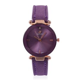 Diamond (Rd 1.3mm) Faceted Glass Constellation Stainless Steel Watch - Purple