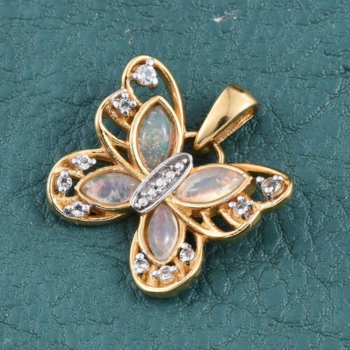 Ethiopian Welo Opal (Mrq), White Topaz Butterfly Pendant in 14K Gold Overlay Sterling Silver 1.000 Ct.