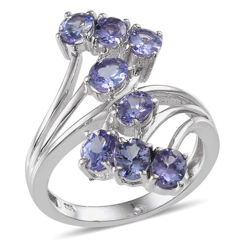 Tanzanite (Ovl) Crossover Ring in Platinum Overlay Sterling Silver 2.750 Ct.
