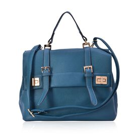Turquoise Colour Crossbody Bag with Adjustable and Removable Shoulder Strap (Size 29.5x24x16.5 Cm)