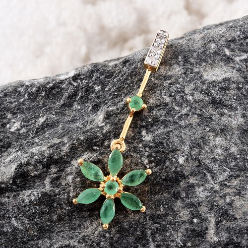 Kagem Zambian Emerald (Rnd), Diamond Floral Pendant in 14K Gold Overlay Sterling Silver 1.000 Ct.