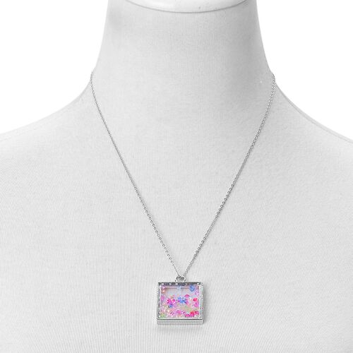 Simulated Multi Colour Diamond Filled Square Shape Pendant With Chain (Size 24) in Silver Tone with Stainless Steel
