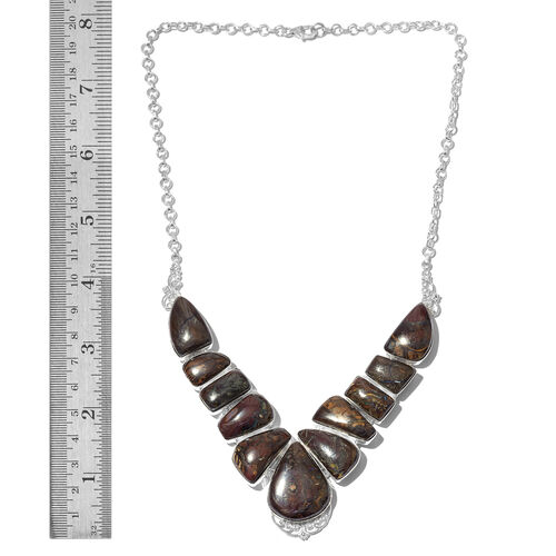 One Off A Kind- Australian Boulder Opal Rock Necklace (Size 18) in Sterling Silver 151.000 Ct. Silver wt 28.30 Gms.