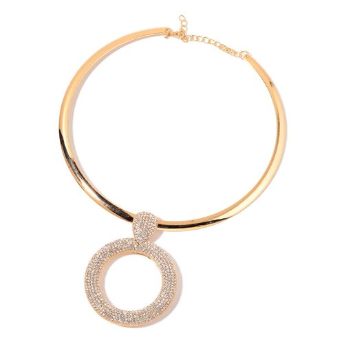 AAA White Austrian Crystal Circle of Life Choker Necklace (Size 18) in Yellow Gold Tone