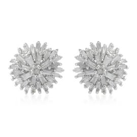 Diamond (Bgt and Rnd) Stud Earrings (with Push Back) in Platinum Overlay Sterling Silver 0.500 Ct.
