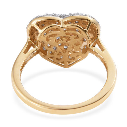 9K Yellow Gold SGL Certified Diamond (Rnd) (I2-I3/G-H) Heart Ring 1.000 Ct.