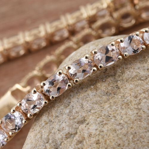 9K Yellow Gold 7 Ct. AA Marropino Morganite Tennis Bracelet (Size 7)