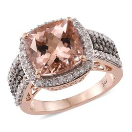 New York Collection-14K R Gold AAA Marropino Morganite (Cush 7.12 Ct), Natural Champagne and White Diamond (I2) Ring 8.250 Ct. Gold Wt 7.85 Gms