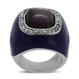 Simulated Purple Cats Eye and White Austrian Crystal Enameled Ring in Stainless Steel