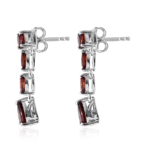 Mozambique Garnet (Pear) Earrings (with Push Back) in Platinum Overlay Sterling Silver 2.000 Ct.
