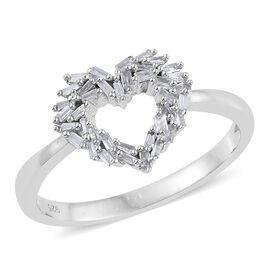 Diamond (Bgt) Heart Ring in Platinum Overlay Sterling Silver 0.250 Ct.