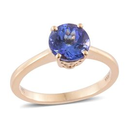 ILIANA 18K Yellow Gold 2 Carat AAA Tanzanite Solitaire Ring