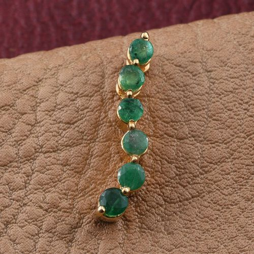 Brazilian Emerald (Rnd) Pendant in 14K Gold Overlay Sterling Silver 0.500 Ct.