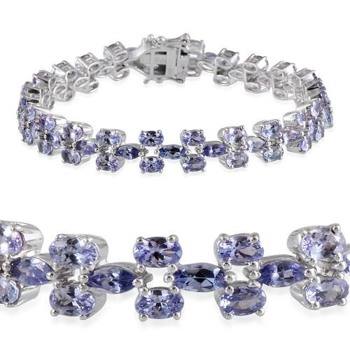 AA Tanzanite (Mrq) Bracelet (Size 7.75) in Platinum Overlay Sterling Silver 13.500 Ct.