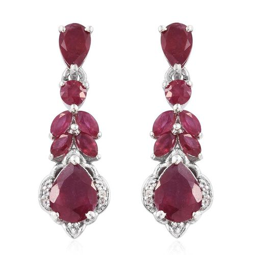 AAA African Ruby (Pear), White Topaz Earrings (with Push Back) in Platinum Overlay Sterling Silver 5.200 Ct.