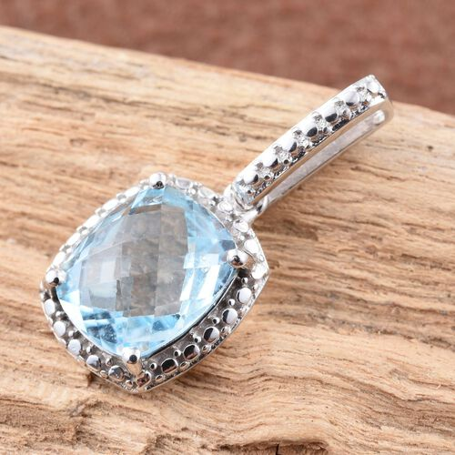 Sky Blue Topaz (Cush) Solitaire Pendant in Platinum Overlay Sterling Silver 3.750 Ct.