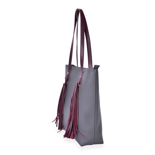 Grey and Burgundy Colour Tote Bag with Tassels (Size 38X34X11.5 Cm)