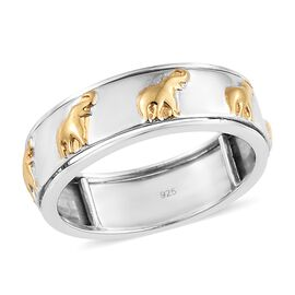 Designer Inspired-Yellow Gold and Rhodium Plated Sterling Silver Elephant Spinner Ring, Silver wt. 5.52 Gms.