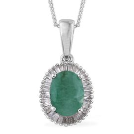 Kagem Zambian Emerald (Ovl 1.10 Ct), Diamond Pendant With Chain in Platinum Overlay Sterling Silver 1.250 Ct.