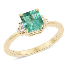 ILIANA 18K Yellow Gold 1.20 Ct AAA Boyaca Colombian Emerald (Ot 1.16 Ct), Diamond (SI/G-H) Ring