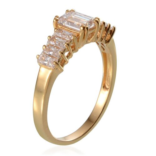 J Francis - 14K Gold Overlay Sterling Silver (Oct) Ring Made with SWAROVSKI ZIRCONIA 1.940 Ct.
