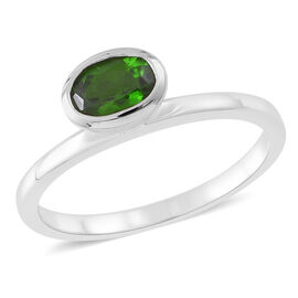 Russian Diopside (Ovl) Solitaire Ring in Rhodium Plated Sterling Silver 1.000 Ct.