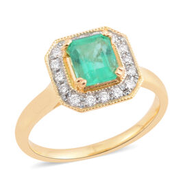 Signature Collection- ILIANA 18K Yellow Gold AAA Boyaca Colombian Emerald and Diamond (SI/G-H) Ring 1.236 Ct.